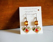 Upcycled Heart Tin Earrings with Vintage Glass Jewel