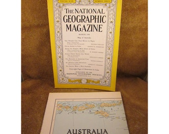 March 1948 National Geographic Magazine & Map of Australia - Vintage Map and Magazine