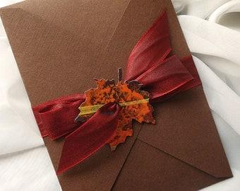 Leaf It Up To Me Autumn Hand Painted Leaf Wedding Invitation - RED... Sample