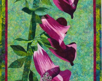 Foxgloves III Original Art Quilt by Lenore Crawford