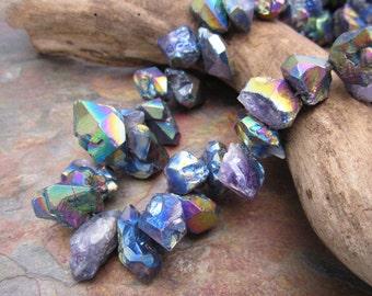 Electric Rainbow Aura Raw Graduated Crystal Chunky Quartz Beads 12-25mm