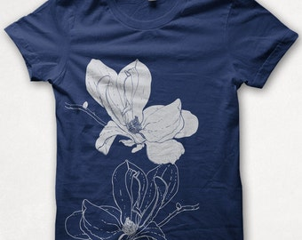 Womens TShirt Magnolia Blossom Fitted Flower Shirt Forest and Fin Graphic Tee Screenprint - Navy