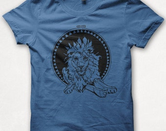 Mens Tshirt, Lion Tshirt, Lion Shirt, Graphic Tee, Forest and Fin, Screenprint - Royal