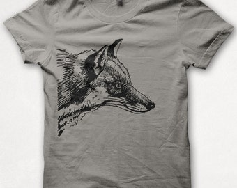 Mens Tshirt, Fox Shirt, Red Fox, Fox Tshirt, Screenprinted Shirt, Graphic Tee - Concrete