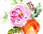 Eva -  Watercolor Painting - Abstract Floral - Pink - Magenta - Illustration - 8x8 Giclee Print - Home Decor