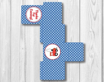 Printable FAVOR BOX - Instant Download - Square Train Favor Box - DIY Thank You Favor Box for Birthday or Baby Showers - Red and Blue Train