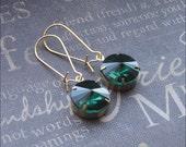 Emerald Glass Earrings Green Rhinestone Drop Earrings Glass Dangle Earrings Bridesmaid Earrings Wedding Jewelry TheEnchantedLocket Gift