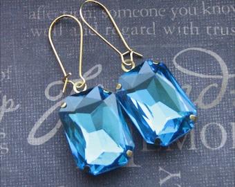 Aqua Blue Rhinestone Earrings Blue Glass Earrings Gold Glass Earrings Bride Earrings Wedding Jewelry Something Blue Earrings Bridesmaid Gift