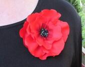 Medium/Large Red Poppy Pin (For Dress), Brooch or Hair Clip, Regular Mail