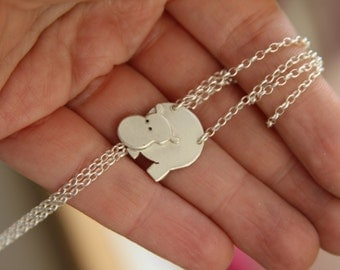 Tiny charm necklace. Silver Hippo necklace. Sterling silver rolo chain. Fine jewelry gifts.