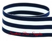 1.5 inch Grosgrain Ribbon-------3 Yards-----Stripes-----Navy White------Hair bow Making Supplies