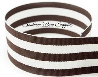 1.5 inch Grosgrain Ribbon-------3 Yards-----Stripes-----Brown White------Hair bow Making Supplies