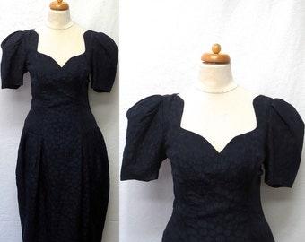 1980s Vintage Hammered Silk Dress / Navy Blue Polka Dot Dress