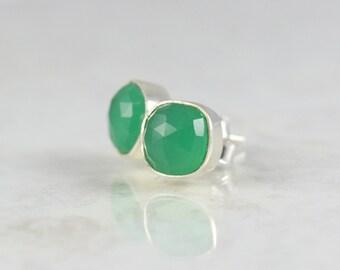 Minimal Green Earrings - Romantic Stud Earrings - Girlfriend Stud Earrings - Square Crystal Studs - Green Birthstone Stud Earrings