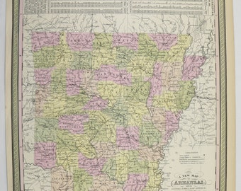 Antique Map of Arkansas 1855 Mitchell Map, Unique Wedding Gift for Couple, Office Decor Gift, Genealogy Research, Southern State Map