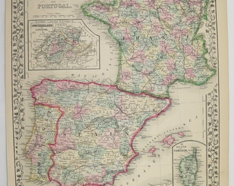 1864 map of england wales united kingdom map uk 1864 johnson vintage map of france spain map portugal 1871 mitchell map of spain france map old gumiabroncs