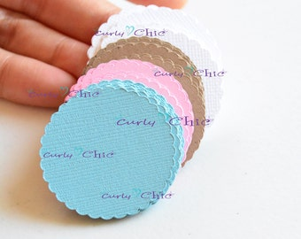 "192 Scalloped Circle II Size 1.50"" -Paper Scalloped Circles Label -Scalloped Circles tag -Paper Scalloped Circles die cut -Custom Paper tags"