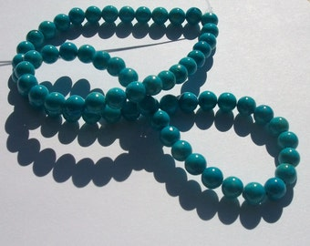 Riverstone,  Gemstone Rounds hand cut dyed 1 strand Turquoise blue - Available in 4mm, 6mm, 8mm, 10mm and 12mm