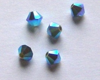 Clearance -- Swarovski Crystal Beads 4mm BICONE crystal beads Palace Green Opal AB2X