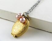 Locket Pendant Necklace Oval Locket Folding Locket Four Photo Locket  Gift for Her Rose Gold