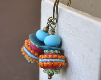Colorful Earrings, Lampwork Earrings, Glass Bead Earrings, Teal Green Orange Earrings