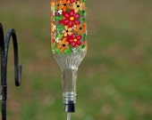 Hand painted Hummingbird feeder Cheerful flowers with flower spout