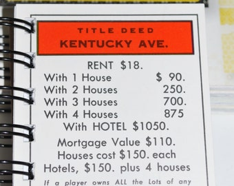 Kentucky Ave Monopoly Notebook
