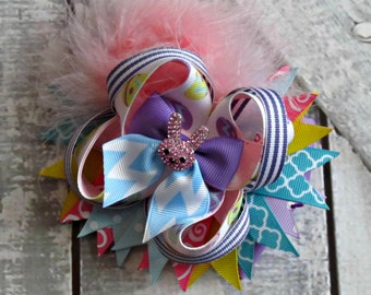 Girl Easter Bow- Pink Rhinestone Bunny Bow- Baby Girl Bow- Toddler Bow- Easter Boutique Bow- Ready To Ship