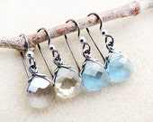 Swarovski Crystal Earrings, Non-allergenic Niobium Earwires, Silver Shade, Aquamarine, Silver, Hypoallergenic Handmade Earrings Jewelry