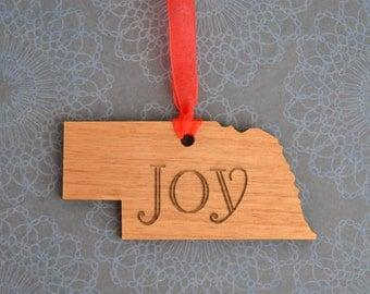 JOY Engraved Nebraska Ornament