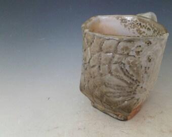 Handmade Wood Fired Pottery Mug with Shino glaze