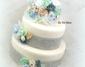 Cake Topper, Brooch Topper, Wedding, Jeweled, Cake Decoration, Seashell, Shellfish, White, Mint, Teal, Blue, Champagne, Destination Wedding