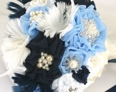 Brooch Bouquet, Navy Blue, Ivory, White, Wedding, Bridal, Jeweled, Fabric, Feathers, Lace, Crystals, Pearls, Elegant, Vintage Style