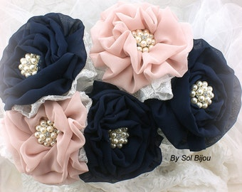 Bridesmaids Bouquets, Navy Blue, White, Pink, Dusty Rose, Brooch Bouquets,Elegant Wedding,Maid of Honor, Flower Girl, Lace, Pearls, Crystals