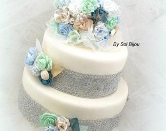 Cake Topper, Brooch Topper, Wedding, Jeweled, Cake Decoration, Seashell, Shellfish, White, Mint, Teal, Blue, Champagne, Destination Wedding