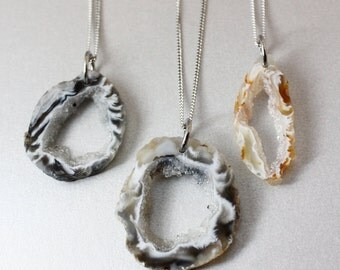 Silver Geode Necklace - Choose Your Geode Pendant - Geode Slices