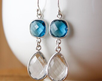 London Blue Quartz & Crystal Earrings - Bridesmaids Earrings - Winter Weddings