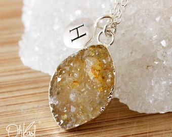 Druzy Leaf Necklace - Initial Charm Necklace -  Choose Your Druzy
