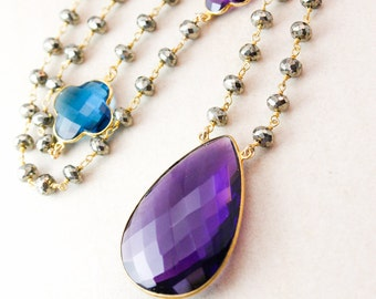 Purple Amethyst Aqua Quartz London Blue Quartz Necklace - Clover - Pyrite Chain
