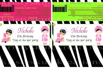 Zebra print Day Spa Candy Bar Wrappers-Digital File-Check out the matching Birthday Invitations