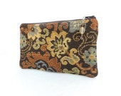 Floral Zippered Bag in Copper with Beaded Zipper Pull - READY TO SHIP