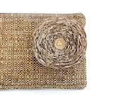 Rustic Brown Clutch Handbag with Khaki Fabric Flower - READY TO SHIP