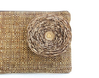 Rustic Brown Clutch Handbag with Khaki Fabric Flower - READY TO SHIP