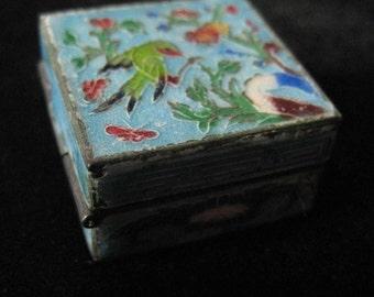 Miniature Enamel Box with Floral Parrot Design