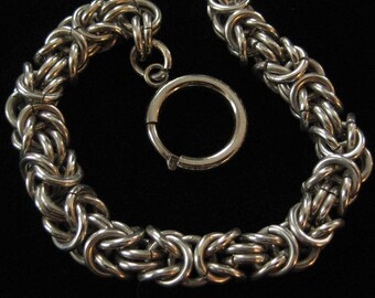 Heavy Thick Sterling Silver Byzantine Bracelet, 9 Inches