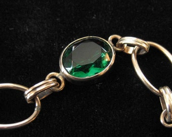 Carl Art Gold Filled Bracelet with Green Stones