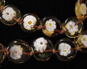 Rare Daisy Millefiori Beaded Necklace, Hand Knotted Topaz Gold Beads