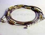 Leather Boho Wrap  Bracelet - Gold Tube Beaded Bohemian Triple Wrap Bracelet w/ Extension - Silver Accent  Pick SIZE / COLOR  -  Usa  011