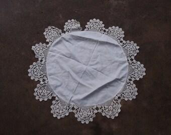 Vintage Doily Crocheted Round White Linen Table Topper Home Decor Wedding