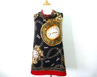 SALE Vintage Silk Scarf Clock Fleur De lis Hermes design